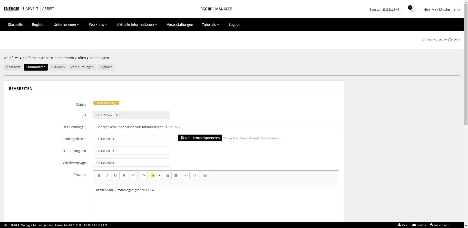 Workflow Stammdaten